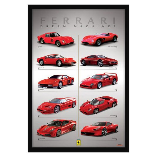 Quadro Decorativo Poster Ferrari Maquina dos Sonhos s/ Vidro 60x90cm