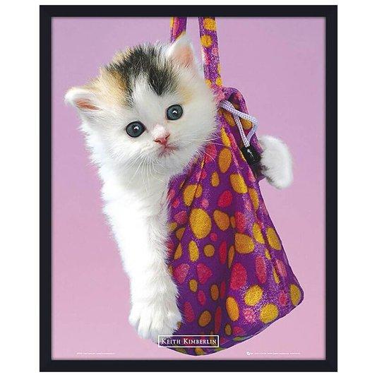 Quadro Decorativo Poster Filhote de Gato Dentro de Bolsa Rosa II s/ Vidro 40x50cm