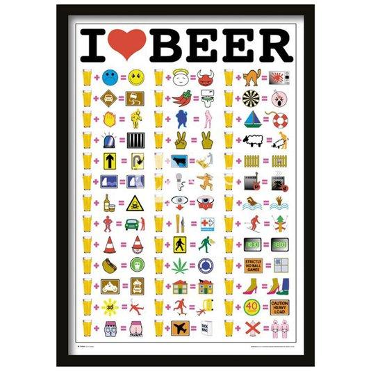Quadro Decorativo Poster I Love Beer Eu Amo Cerveja s/ Vidro 64x94cm