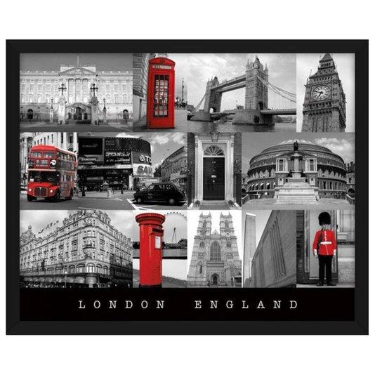 Quadro Decorativo Poster London England Pontos Turísticos s/ Vidro 50x40 cm