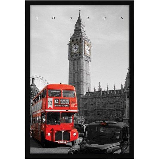 Quadro Decorativo Poster London England Red Bus s/ Vidro 60x90cm