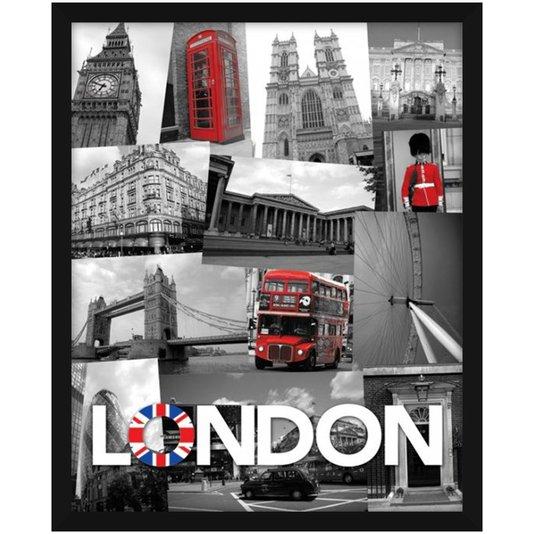 Quadro Decorativo Poster London Pontos Turísticos s/ Vidro 40x50cm