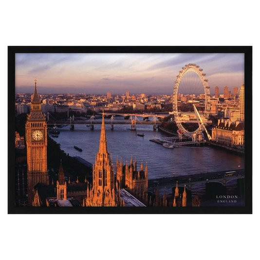 Quadro Decorativo Poster Londres Big Ben e London Eye s/ Vidro 90x60cm