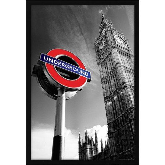 Quadro Decorativo Poster Londres Big Ben Placa Estação Metrô s/ Vidro 60x90cm