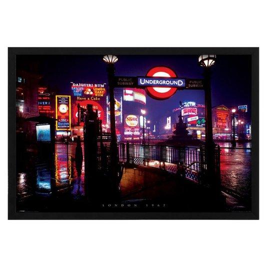 Quadro Decorativo Poster Londres Placa para Estação de Metrô s/ Vidro 140x100cm