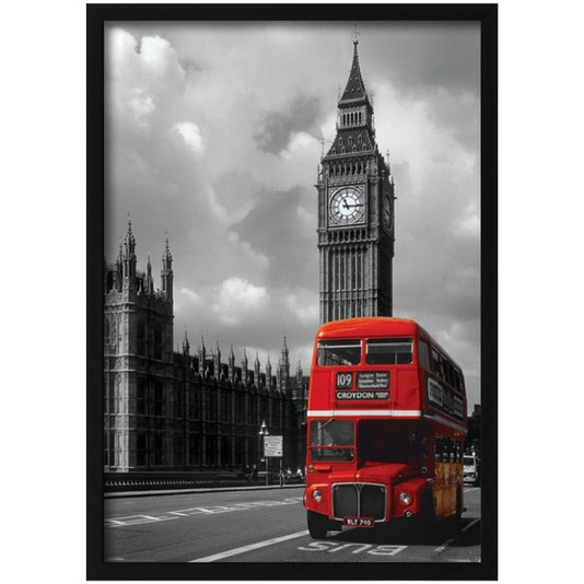 Quadro Decorativo Poster Londres Red Bus e Big Ben s/ Vidro 100x140cm