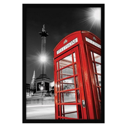 Quadro Decorativo Poster Londres Telephone Box s/ Vidro 60x90cm