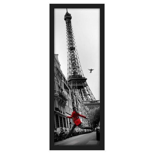 Quadro Decorativo Poster Londres Torre Eiffel - La Veste Rouge s/ Vidro 55x160cm