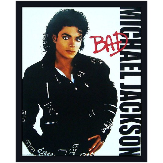Quadro Decorativo Poster Michael Jackson Bad s/ Vidro 40x50cm