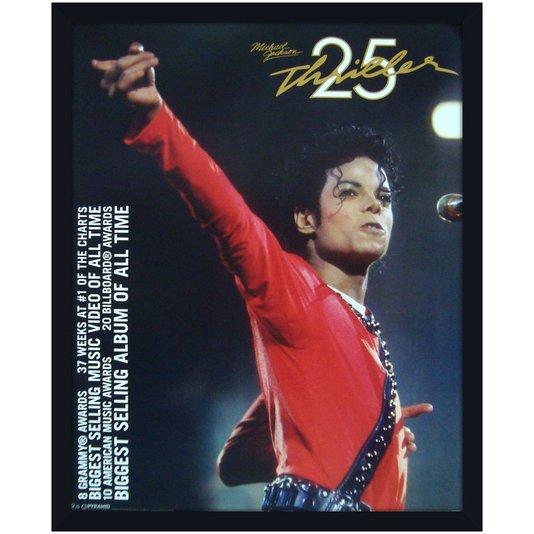 Quadro Decorativo Poster Michael Jackson Thriller s/ Vidro 40x50m