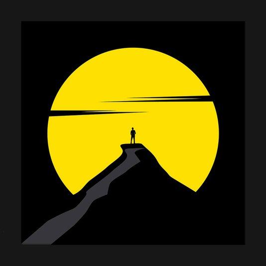 Quadro Decorativo Imagem Minimalista Ilustração Homem na Montanha 30x30cm