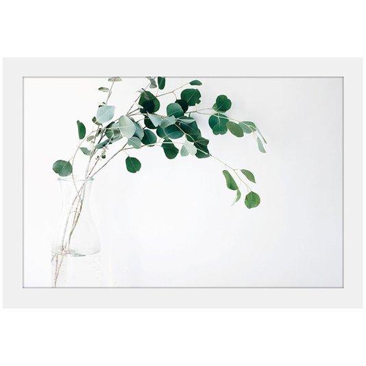 Quadro Decorativo Imagem Minimalista Vaso Folhas Verdes 30x20cm