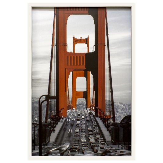 Quadro Decorativo Poster Moldura Branca Ponte Golden Gate em San Francisco 60x90cm