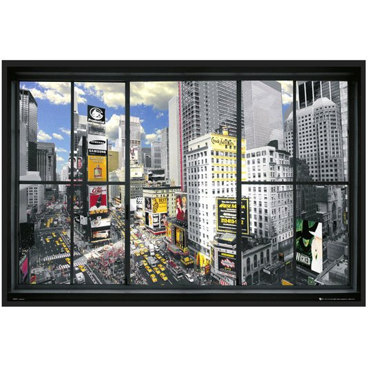 Quadro Decorativo Poster Moldura Preta Times Square em Nova Iorque 90x60cm