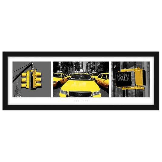 Quadro Decorativo Poster New York Semáforos e Táxis Amarelos s/ Vidro 90x30cm