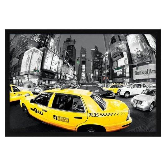Quadro Decorativo Poster Nova York na Hora do Rush s/ Vidro 90x60cm