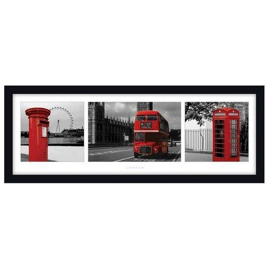 Quadro Decorativo Poster Paisagem Londres Red Bus s/ Vidro 90x30cm