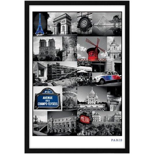 Quadro Decorativo Poster Paris Alguns Pontos Turísticos s/ Vidro 60x90cm