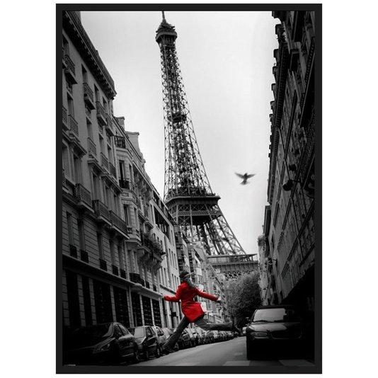 Quadro Decorativo Poster Paris Torre Eiffel La Veste Rouge s/ Vidro 100x140cm