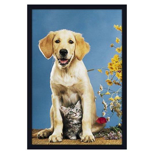 Quadro Decorativo Poster Pets Cachorro e Gato 60x90cm