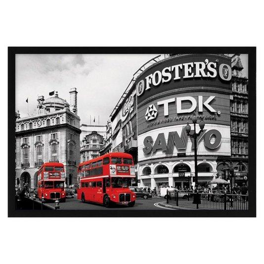 Quadro Decorativo Poster Picadilly Circus Londres s/ Vidro 90x60cm