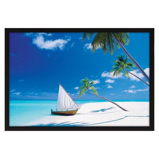 Quadro Decorativo Poster Praia Paraíso s/ Vidro 90x60cm