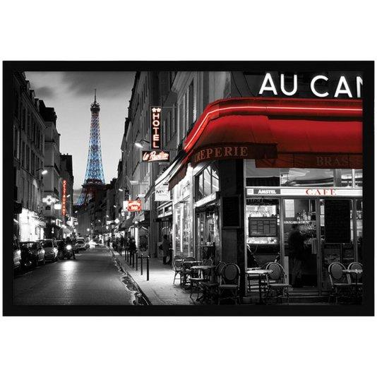 Quadro Decorativo Poster Rua de Paris Torre Eiffel 94x64cm
