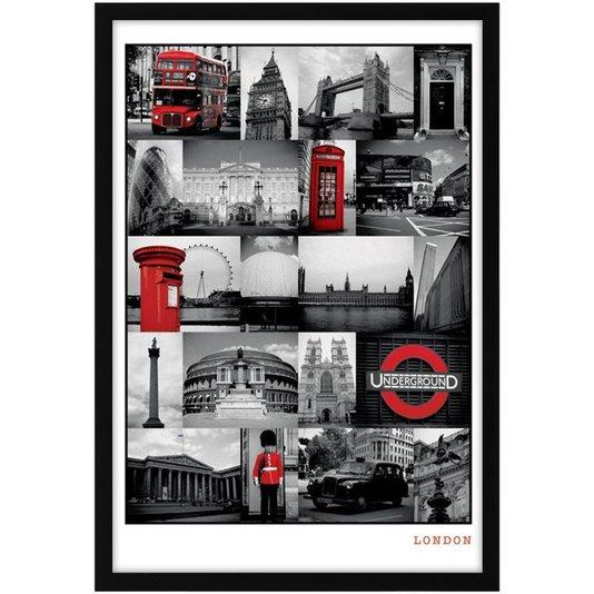 Quadro Decorativo Poster s/ Vidro Pontos Turísticos de Londres 60x90cm