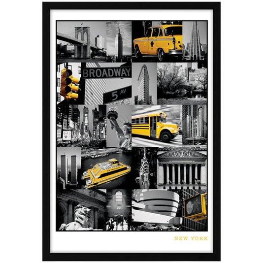 Quadro Decorativo Poster S/ Vidro Pontos Turísticos de Nova York 60x90cm