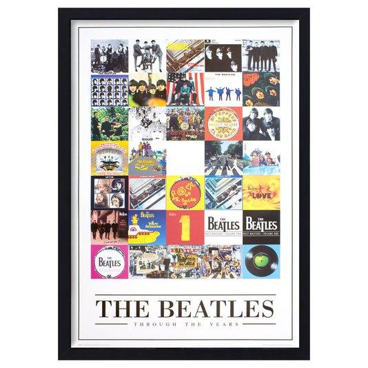 Quadro Decorativo Poster The Beatles Discos ao Longo da Carreira s/ Vidro 60x90cm