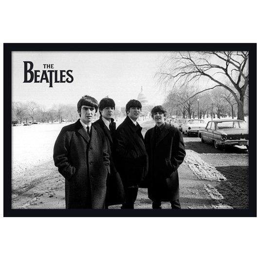 Quadro Decorativo Poster The Beatles em Preto e Branco s/ Vidro 90x60cm