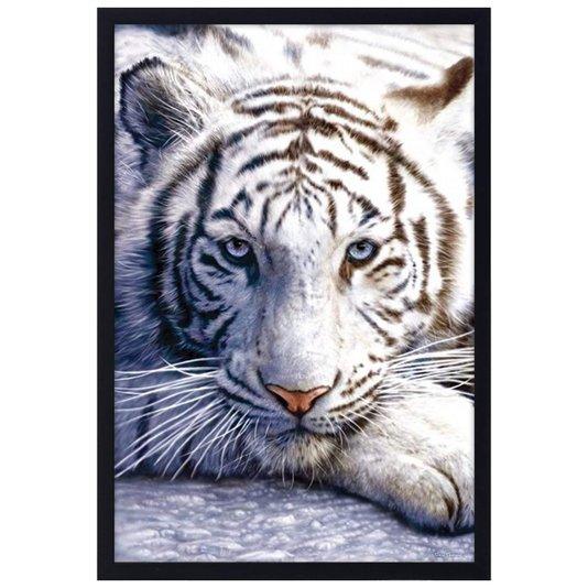 Quadro Decorativo Poster Tigre Branco com Vidro 60x90cm