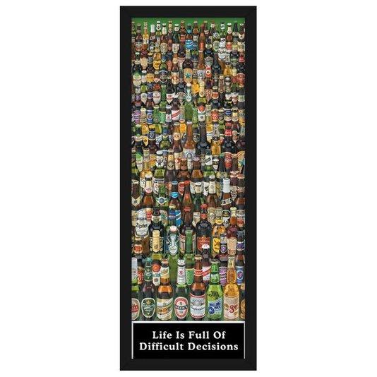 Quadro Decorativo Poster Várias Marcas de Cervejas s/ Vidro 55x160cm