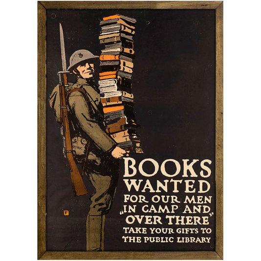 Quadro Decorativo Poster Vintage Books Wanted com Vidro 20x30 cm