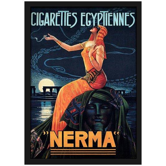 Quadro Decorativo Poster Vintage Cigarettes EgypTiennes com Vidro 20x30 cm