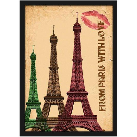 Quadro Decorativo Imagem Vintage Paris Torre Eiffel com Vidro 20x30 cm
