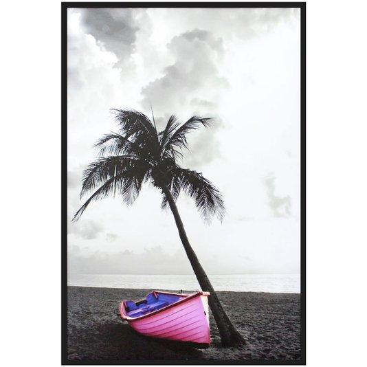 Quadro Decorativo Praia em Preto e Branco com Barco em Destaque 100x150cm