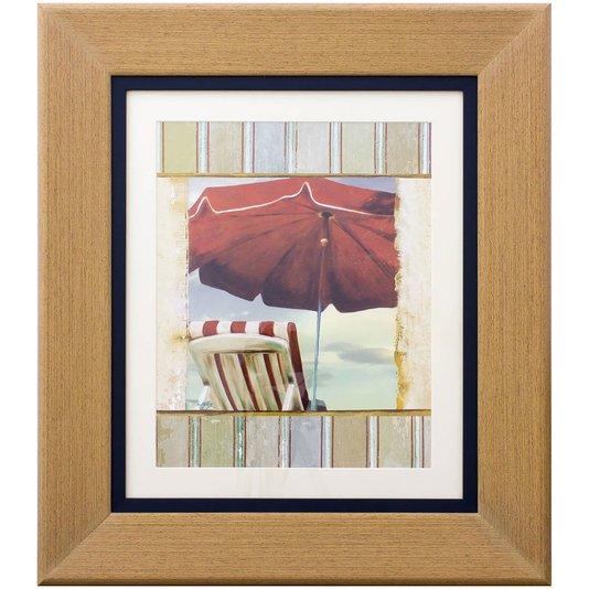 Quadro Decorativo Praia Guarda Sol Vermelho e Cadeira 50x60cm