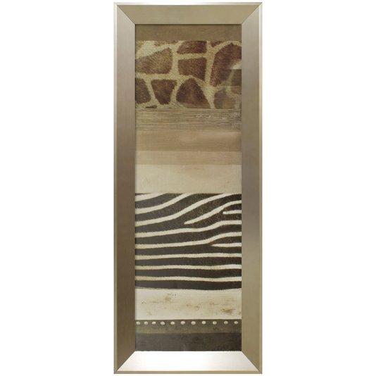 Quadro Decorativo Prata Abstrato Estampa de Animais 40x100cm