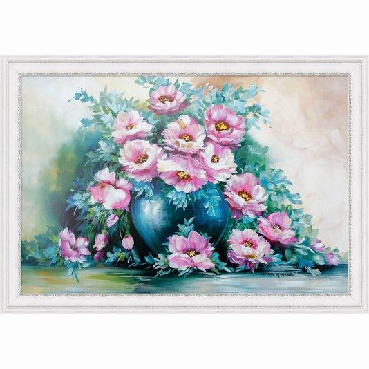 Quadro Decorativo Provençal Natureza Morta Vaso de Flores 100x70cm