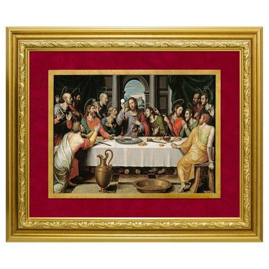 Quadro Decorativo Religioso Santa Ceia do Senhor Dourado e Vermelho 110x90cm