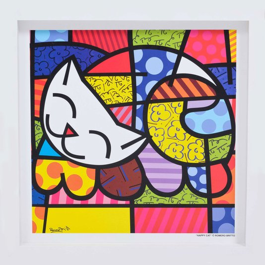 Quadro Decorativo Romero Britto Happy Cat 35x35cm