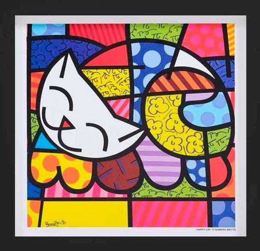 Quadro Decorativo Romero Britto Happy Cat com Moldura Preta 35x35cm