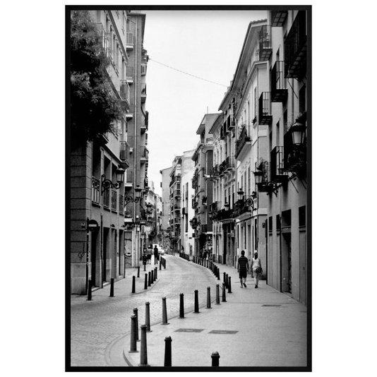 Quadro Decorativo Rua no Centro de Valência Cidade da Espanha em Preto e Branco 100x140cm