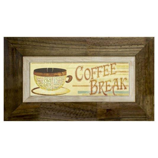 Quadro Decorativo Rústico Coffee Break s/ Vidro 70x40cm