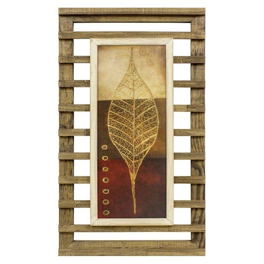 Quadro Decorativo Rústico Folha Minimalista 40x70cm