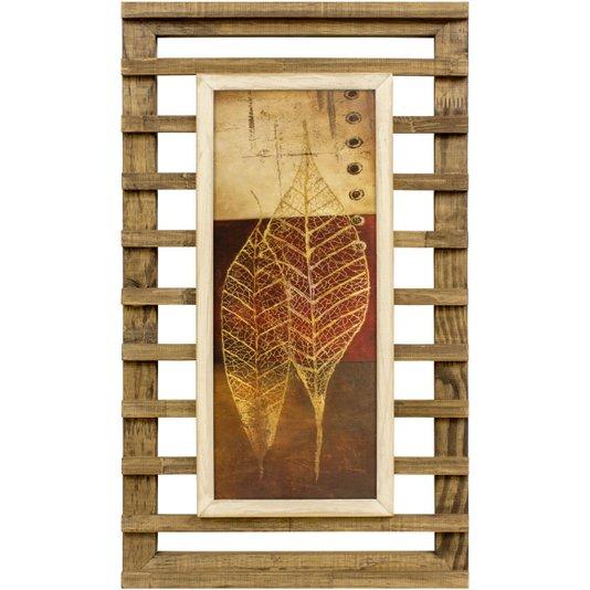 Quadro Decorativo Rústico Folhas Minimalistas 40x70cm