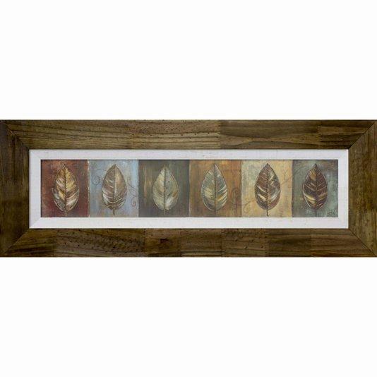 Quadro Decorativo Rústico Folhas New Leaf Panel 120x40cm