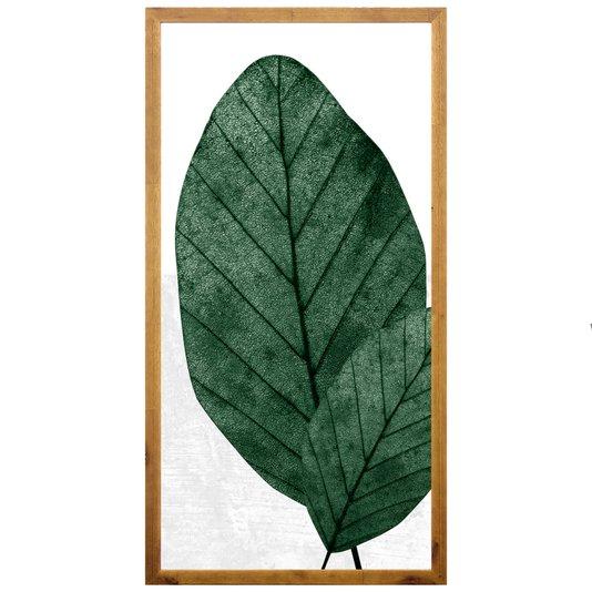 Quadro Decorativo Rústico Folhas Verdes 50x100cm