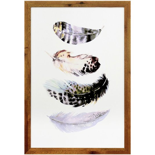 Quadro Decorativo Rústico Ilustração Penas Coloridas 40x60cm